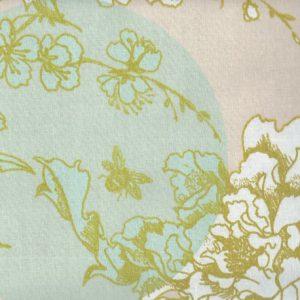Baumwolle beschichtet puder/mint, Kirschbluete gold